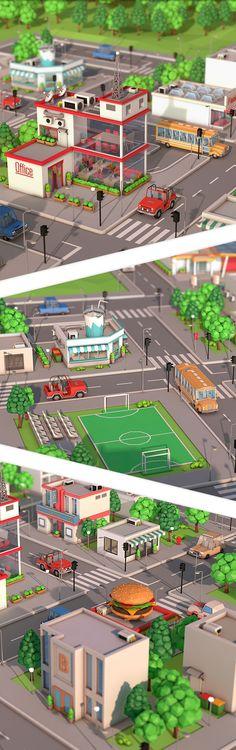 Low Poly City Pack 3D Model Formats: max, maya, c4d, blend, fbx, obj