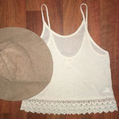 Mossimo Supply Co. - Cream White Top Wear this cream white top to any casual date or gathering! Beautiful crochet bottom. In excellent condition. Mossimo Supply Co. Tops