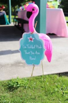 Love this idea for entry decor at a Flamingo party. Let's Flamingo - Tropical Birthday Party - Flamingo Birthday Party Pink Flamingo Party, Flamingo Baby Shower, Flamingo Birthday, Luau Birthday, 4th Birthday Parties, Birthday Ideas, Flamingo Pool, Paris Birthday, Pink Flamingos