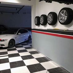 Pattern Garage Paint Red White And Black With Bottom Half Of Wall In Grey