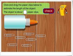 Midiendo la longitud con clips (Harcourtschool.com)