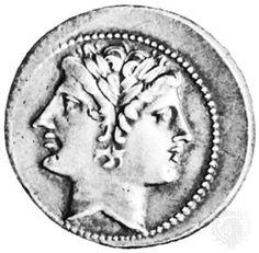 The god Janus, beardless, Roman coin; in the Bibliothèque Nationale, Paris Tiefling Paladin, God Tattoos, Roman Gods, Roman Republic, Wolf Moon, Greek Gods, Ancient Rome, Pictogram, Gods And Goddesses