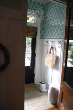 Lattice Stenciled Entryway - beautiful!
