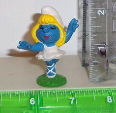 Vintage Ballerina Smurf Smurfette 1978 Peyo Schleich PVC Figure Figurine Smurfs
