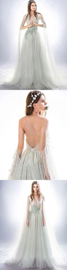 Beading Prom Dress V-neck Appliques Brush Train Sleeveless Tulle Prom Dress by MeetBeauty, $167.19 USD