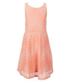GB Girls 7-16 Chevron Lace Swing Dress