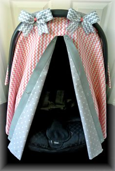 car seat canopy car seat cover gray grey bows by JaydenandOlivia, $37.99 Cover Gray, Seat Covers, Baby Car Seats, Nursery Ideas, Canopy, Bench Seat Covers, Nursery Room Ideas, Canopies, Infant Car Seats