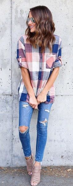 #fall #outfits  Billie Cotton Plaid Top + Destroyed Skinny Jeans