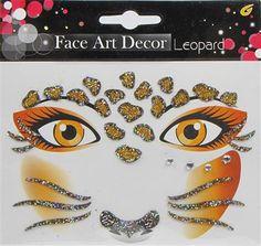 Face Art Decor - Leopard glittertatoveringer til Fastelavn ~ Banditten.com