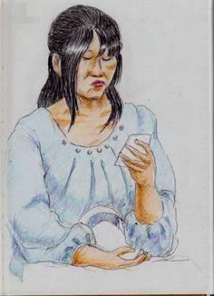 水色のワンピースのお姉さん(電車でスケッチ) It is a sketch of a woman wearing a light blue One Piece. I drew in a commuter train.