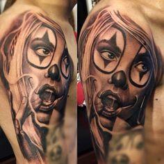 http://tattoomagz.com/amazing-clown-tattoos/  Amazing clown tattoos