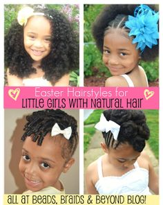 Lots of Easter Hairstyles for Little Girls with Natural Hair with instructions!