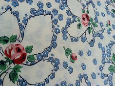 1930s Fabric Cornflower Blue POSIES and Pink ROSES Romantic Print on Cotton Fabric // 1.25 Yards