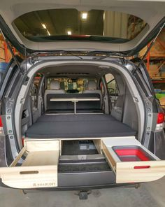 Turn your minivan with the Roadloft Camper Conversion Kit in just a few minutes without any permanent modification. Auto Camping, Truck Bed Camping, Stealth Camping, Minivan Camping, Minivan Camper Conversion, Suv Camper, Mini Camper, Camper Life, Honda Odyssey