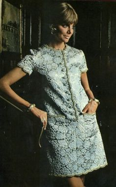 1968 Pattern by Christian Dior Pattern by Christian Dior Patterns by Pierre Cardin (r) and Nina Ricci (l) Pattern by Nina Ricci Pattern by Yves St. Laurent Pattern by Jeanne Lanvin Pattern by Fourquet … Sixties Fashion, 60 Fashion, Fashion History, Timeless Fashion, Retro Fashion, Vintage Fashion, Luxury Fashion, Lauren Hutton, Vintage Dresses