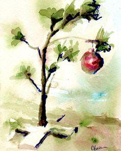 Little Christmas Tree Print, Original Watercolor, Olive Green, Blue Green, Christmas Painting, Tree Painting, Tree Print, Wall Art