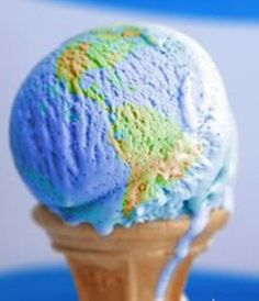 scoop of ice cream that looks like the earth, on an ice cream cone #unique #blue