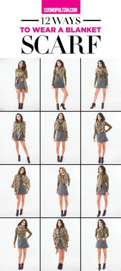 12 Ways to Wear a Blanket Scarf How To Wear A Blanket Scarf, Ways To Wear A Scarf, How To Wear Scarves, Plaid Blanket, Blanket Scarf Outfit, How To Wear Pashmina, Scarf Tying Blanket, Tie Scarves, Fall Winter Outfits