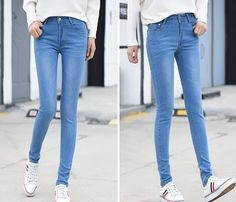 CW66942 Elasticity Korean style jeans slim spring long pants