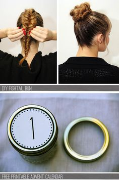 DIY fishtail bun. Ignore the bottom picture.. Apparently they were connected.