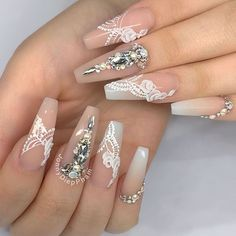 Beautiful bridal nails by 😍 Ugly Duckling Nails is dedicated to keeping love, support, and positivity flowing in our industry ❤️ Fancy Nail Art, Fancy Nails, Bling Nails, Pretty Nails, Wedding Manicure, Bridal Nails, Gel Nail Designs, Cute Nail Designs, Art Designs
