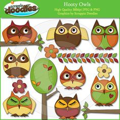 Hooty Owls Clip Art by ScrappinDoodles on Etsy, $3.99