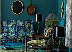 Peacock Living Room Decor | Swoon Worthy: Style Inspiration: Peacock Blue to Deep Teal Walls