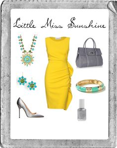 Little Miss Sunshine, created by sshown on Polyvore.  Yellow and I don't agree but I adore it on everyone else!!!  Grey and teal on the other hand, yes please!!!