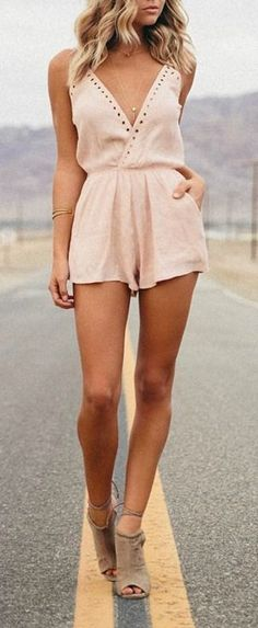 Cute Blush Pink Romper | Women's Spring Outfits | street style. ♥ Fashion inspiration Women apparel | Women's Clothes | Fashion | Style | Dresses | Outfits | #clothes #shoes #fashion #dresses #women #jeans #shop CollectiveStyles.com