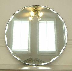 Antique Art Deco Round Scallop Beveled Glass Mirror   eBay