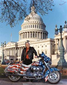 Senator Ben Nighthorse Campbell on a Harley Motorcycle