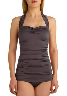Bathing Beauty One Piece in Pewter, #ModCloth - many many colors. not: get before summer and they start  disapearing .