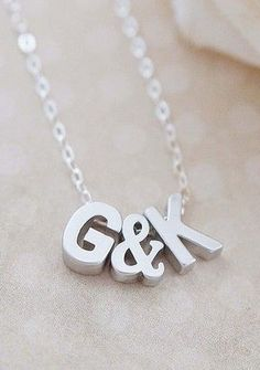 Matte Silver Initial Letters (Capital Letter) and Ampersand bead personalized initial necklace