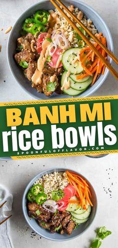 Asian Dinner Recipes, Healthy Dinner Recipes, Asian Recipes, Healthy Vietnamese Recipes, Lunch Meal Prep, Healthy Meal Prep, Healthy Eating, Meal Prep Bowls, Pork Recipes