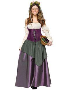 Mittelalter Magd Damenkostüm weiss-lila - Artikelnummer: 581840000 - ab 79.99 EURO - bei www.racheshop.de!