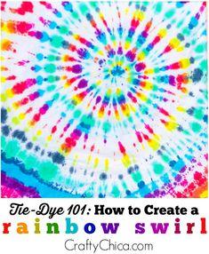 How to make a tie-dye swirl on the fabric. tye dye shirts with food coloring kids Make A Tie, How To Tie Dye, Tie And Dye, Kids Tie Dye, Tie Dye Rainbow, Rainbow Swirl, Ty Dye, Diy Tie Dye Shirts, Diy Tie Dye Dress