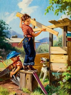 """My older brothers (twins) were always building things from scrap lumber ...from homemade rides to tree houses to forts in our play places we named """"Rawhide"""" and """"Ghost Town""""--pine thickets that offered a little relief from our Alabama summers!!!  This reminded me of them. ~slj (Hy Hintermeister ~ """"Building A Fort"""")"""