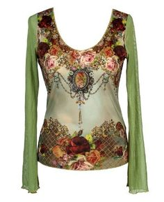 Michal Negrin Shirt Made of Lycra with Chiffon Long Sleeves, Fashioned with Victorian Floral Print to the Front, Multicolor Swarovski Crystals and Glitter Accents - Size XL Michal Negrin,http://www.amazon.com/dp/B008HQUDHE/ref=cm_sw_r_pi_dp_TZaDrb61967045B3