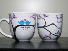 Personalized Coffee Mugs Painted Cups Love Birds Set of Two. $40,00, via Etsy.