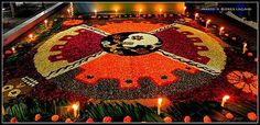 MURAL FLOWER WITH A SKULL (SIGN OF DEATH IN PREHISPANIC MEXICO) IN THE CENTER.