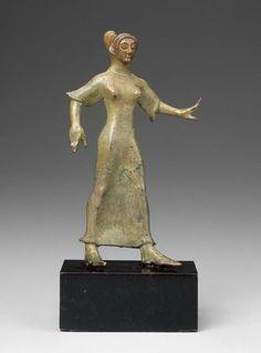 Bronze statue of a female dancer - Italic, Etruscan - about 500 BC. Museum of Fine Arts, Boston