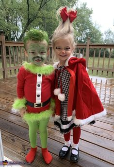 cute halloween costumes The Grinch amp; Cindy Lou Costume - 2019 Halloween Costume Contest cute halloween costumes The Grinch amp; Little Girl Halloween Costumes, Twin Halloween, Halloween Costume Contest, Halloween Outfits, Grinch Halloween, Costumes Kids, Halloween Party, Christmas Costumes, Halloween Horror