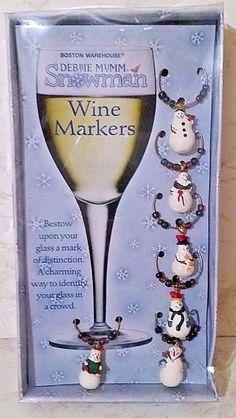 "Debbie Mumm ""Snowman"" Wine Markers/Charms Set of 6 W/Beads NIB #DebbieMummBostonWarehouse"