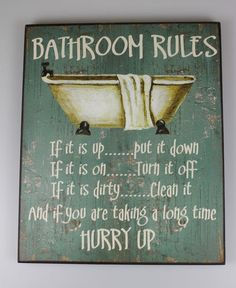 Large Shabby Wooden Chic Sign Bathroom Rules Vintage Plaque | eBay