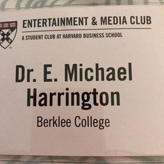 My lanyard from the Beyond The Screen: Entertainment & Média Conference at the Harvard Business School February 18 2018