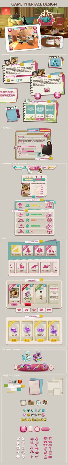 Ознакомьтесь с этим проектом @Behance: «GAME INTERFACE DESIGN - CAT HOTEL» https://www.behance.net/gallery/47462695/GAME-INTERFACE-DESIGN-CAT-HOTEL