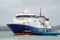 AORAKI (2926grt) one of the Sealord Group's fleet of four factory stern trawlers, manoeuvres at the entrance to the VT Fitzroy drydock in Auckland, NZ. She was sold in 2005. Date: 4 October 2004 Aoraki ID 2334