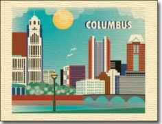 Columbus, Ohio skyline illustration printed on woven textured stock, 100% recycled.