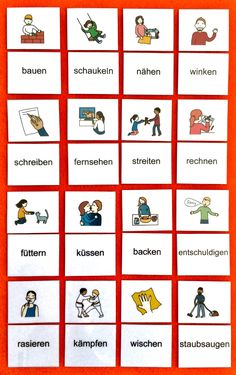 Learn word-picture cards to read. You can find this and many other free learning materials from the French Lessons, Spanish Lessons, Learning Spanish, Spanish Activities, Learning Italian, German Grammar, German Words, German English, English Study