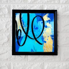 """""""Azul Rey Obra"""" Original Art Technique: Acrylic below a sheet of acrylic Dimensions: 12 x 12 cm (painting comes framed; frame may vary from the photo) Abstract Expressionism, Abstract Art, Acrylic Sheets, Cursive, Art Techniques, Art Studios, Graphic Art, Innovation, Original Art"""